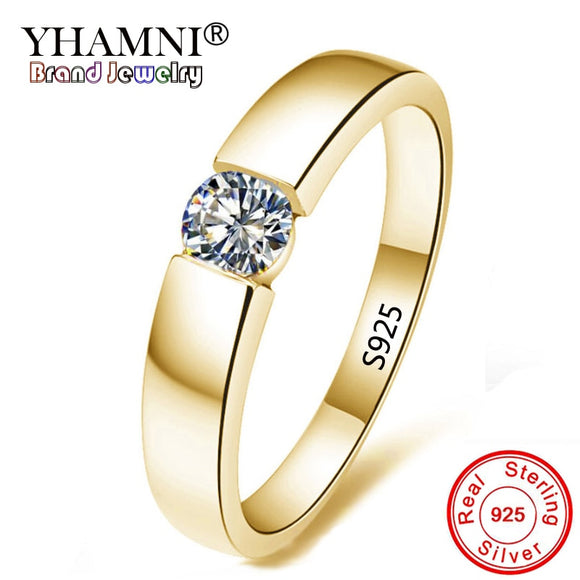 YHAMNI Pure Silver Gold Filled Solitaire Ring CZ Zircon Engagement Wedding Jewelry Rings - Beltran's Enterprise