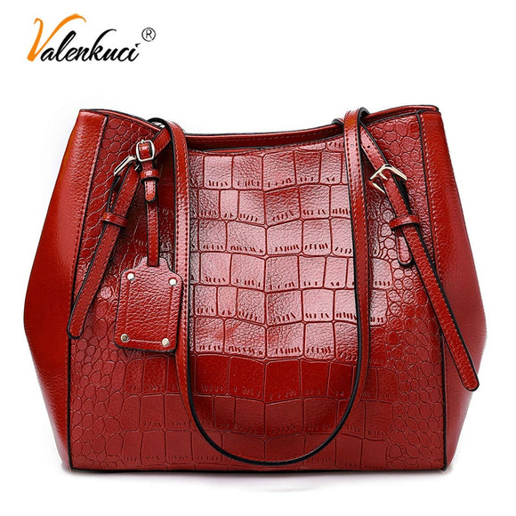 Fashion Big Tote Bags for Women 2018 Crocodile Pattern PU Leather Shoulder Bag - Beltran's Enterprise