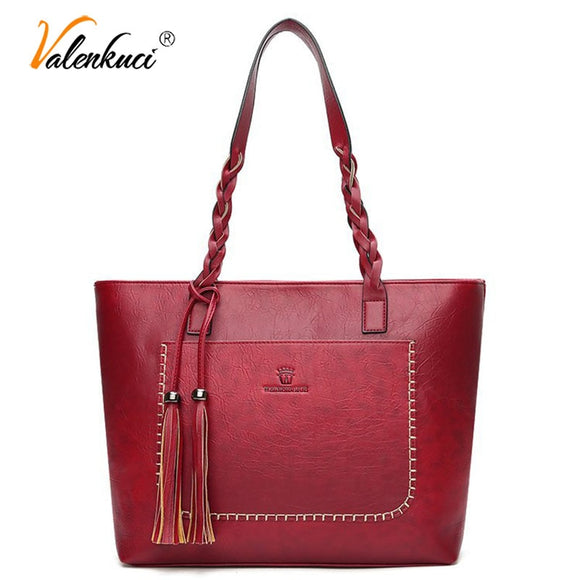 Valenkuci Famous Brand Large Capacity Top Handle Tote Women Shoulder Bag Tassel Plaited Luxury - Beltran's Enterprise
