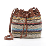 Women Bohemia Style Drawstring Handbags PU Canvas Shoulder Bag Rope Stripe Straw Bucket - Beltran's Enterprise