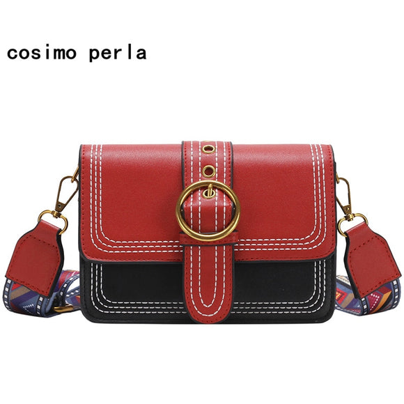 Fashion Satchel Handbag Crossbody Bag for Women 2019 Hit Color Retro Metal Ring Lock - Beltran's Enterprise