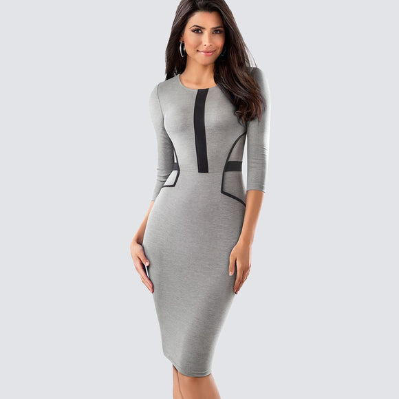 Formal Contrast Patchwork Work Office Lady Dress Women - Beltran's Enterprise
