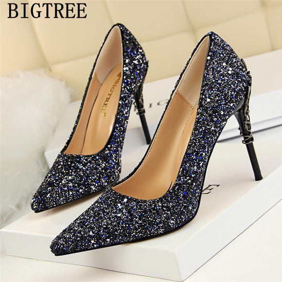 bigtree shoes glitter heels wedding shoes bride  high heels dress shoes women sexy heels - Beltran's Enterprise