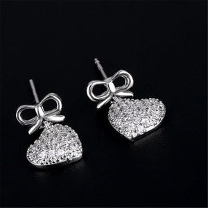 YKNRBPH High Quality S925 Sterling Silver Crystal Earrings Lovely Bow Tie Zircon Earrings for Women - Beltran's Enterprise