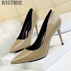 ladies heels bigtree shoes patent leather women wedding shoes yellow heels luxury shoes women - Beltran's Enterprise