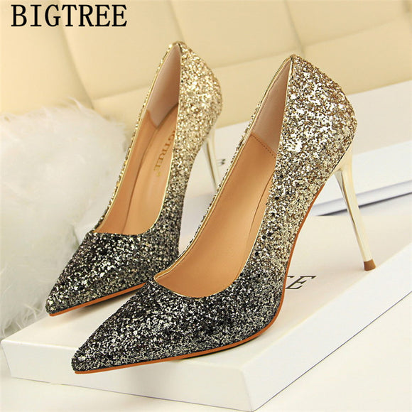 glitter heels bigtree shoes luxury heels wedding shoes bride black pumps women high heels - Beltran's Enterprise