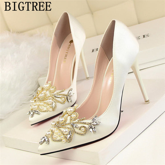 sexy high heels pearl bigtree shoen wedding heels elegant shoes rhinestone heels dress shoes women - Beltran's Enterprise