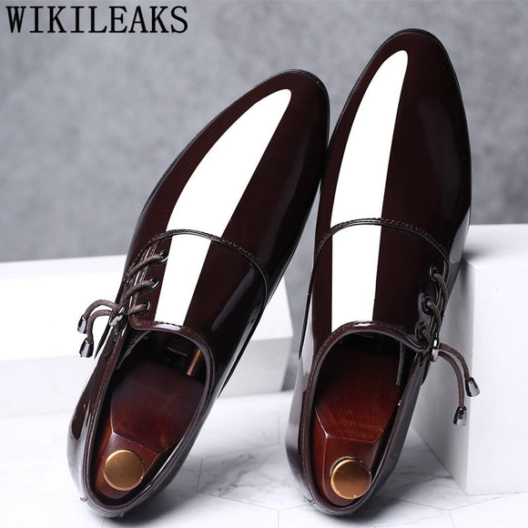 Mens Dress Shoes Patent Leather Pointed Toe Men Party Wedding Shoes Derby Shoes - Beltran's Enterprise