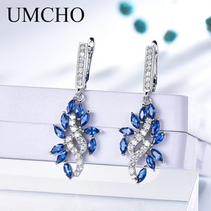 UMCHO Blue Sapphire Drop Earrings for Women Genuine 925 Sterling Silver Gemstone September - Beltran's Enterprise