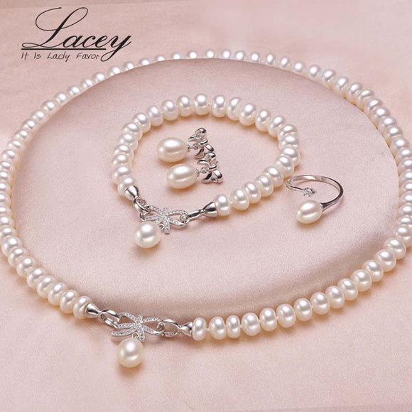 Wedding freshwater pearl jewelry set for women,genuine natural pearl necklace jewelry sets - Beltran's Enterprise