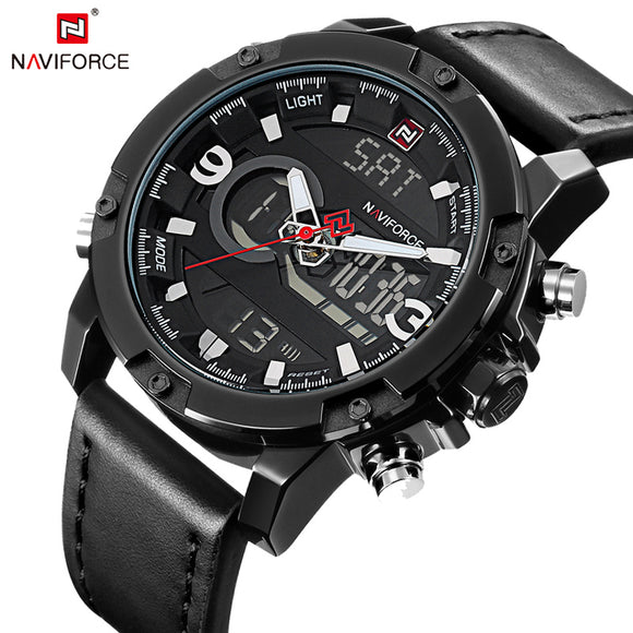 NAVIFORCE Mens Watches Fashion Casual Sport Black Leather Watch Male Clock Man Army Military Quartz - Beltran's Enterprise