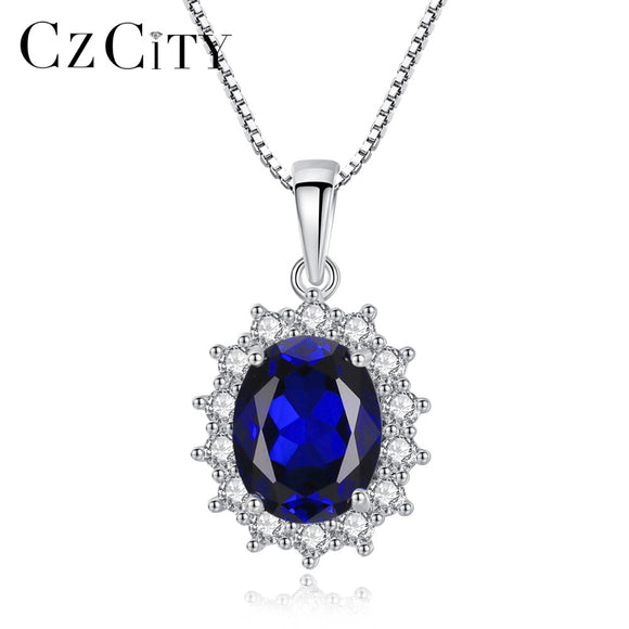 CZCITY Elegant Oval Princess Diana William Sapphire Pendant Necklace for Women 100% 925 Sterling - Beltran's Enterprise