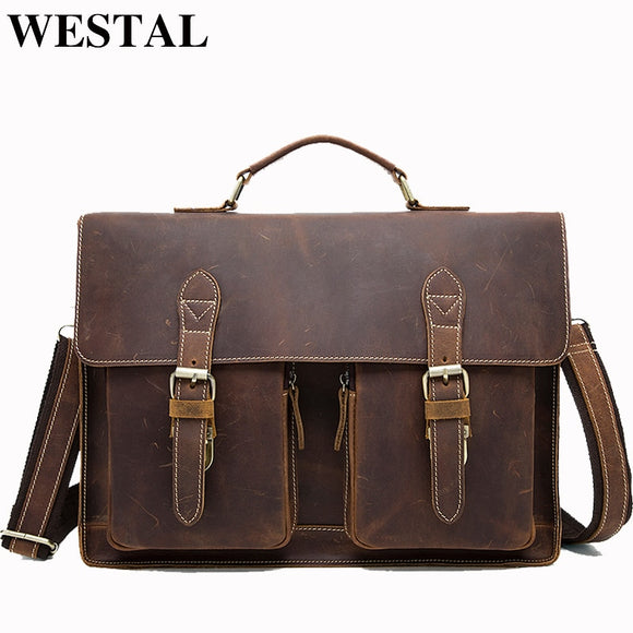 WESTAL Business Briefcases Bag Men for Lawyer Vintage Crazy Horse Leather Laptop Briefcases Bag - Beltran's Enterprise