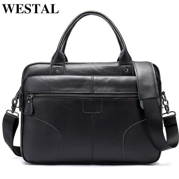 WESTAL Leather Laptop Briefcases Bags for Men Genuine Leather - Beltran's Enterprise
