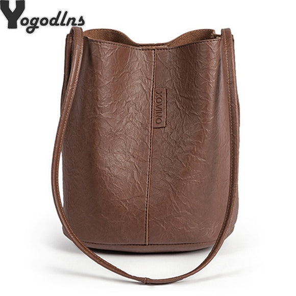 New Tide Solid Oil PU Material Small Fairy Bag Bucket Bag Casual Wild Single Shoulder - Beltran's Enterprise