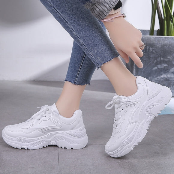 size41 42luxury shoes women designers platform white sneakers wedges shoes for women ladies casual shoes zapatillas chunky mujer - Beltran's Enterprise