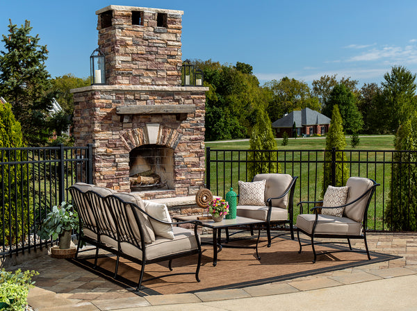 Patio Furniture With Fireplace.7 Tips For Arranging Patio Furniture Blue Oak Outdoor
