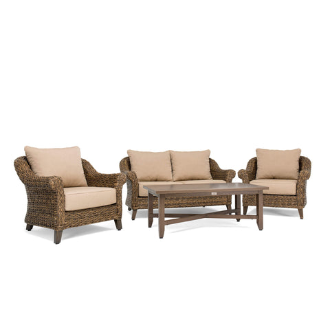 Bahamas 4 Piece Seating Set (Loveseat, Coffee Table, 2 Stationary Lounge Chairs)
