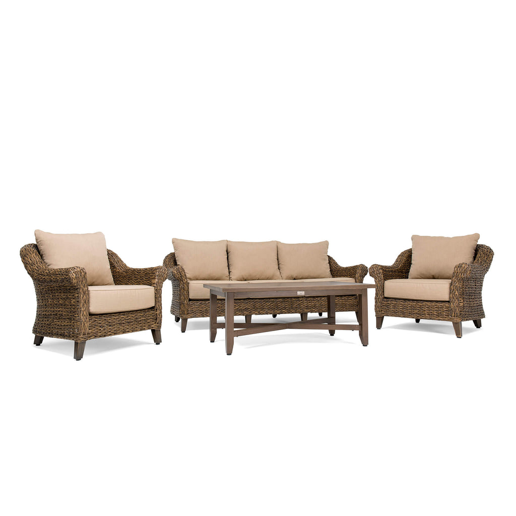 Bahamas 4 Piece Seating Set (Sofa, Coffee Table, 2 Stationary Lounge Chairs)