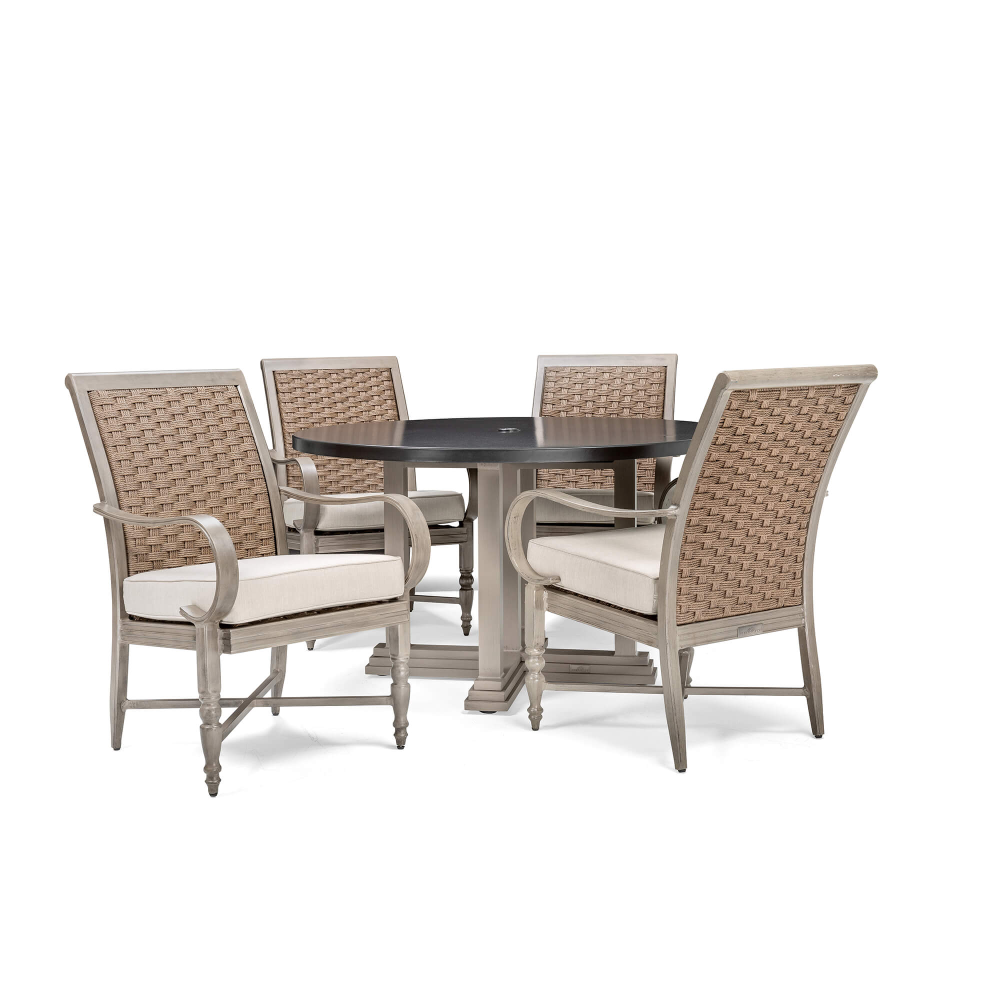 Saylor 5 Piece Dining Set Round Dining Table 4 Stationary Dining Cha Blue Oak Outdoor