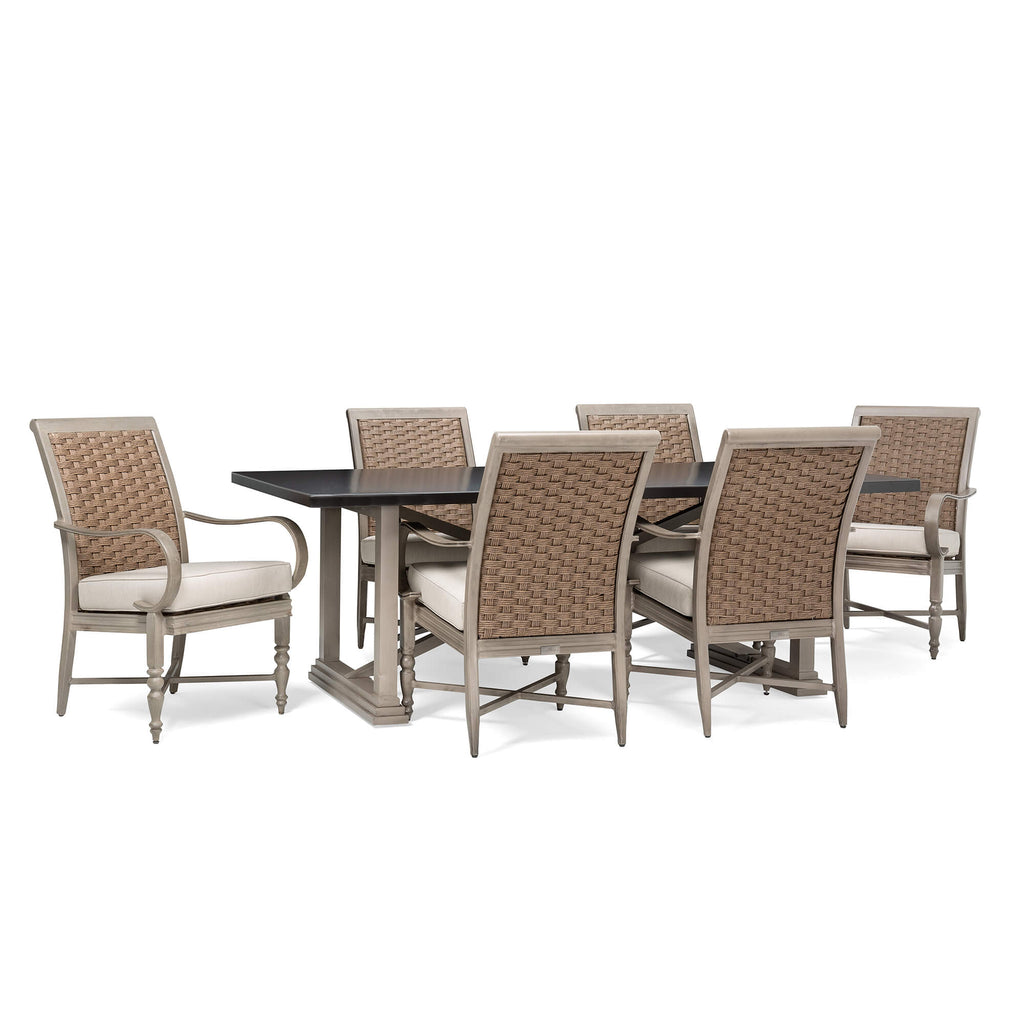 Saylor 7 Piece Dining Set (Rectangular Dining Table, 6 Stationary Dining Chairs)