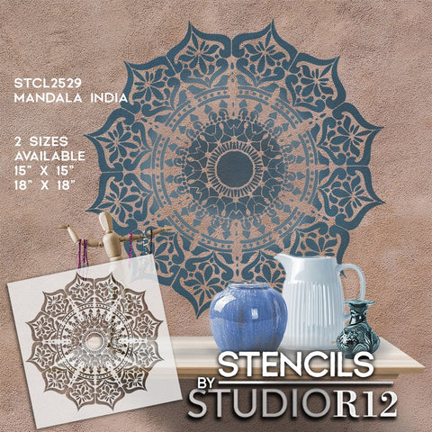 Mandala India Stencil - Mandala Pattern Stencil - Creative Modern Pattern Designs for DIY Home Decor by StudioR12