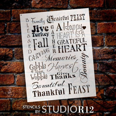 Fall Background Words Stencil by StudioR12