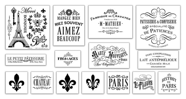 French,   			                 French Quotes,   			                 French Stencil,   			                 stencil set,