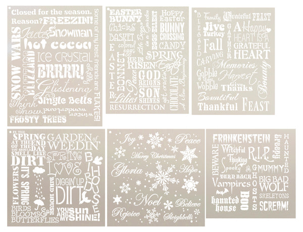 Seasonal Background Words Stencil Set | CMBN546