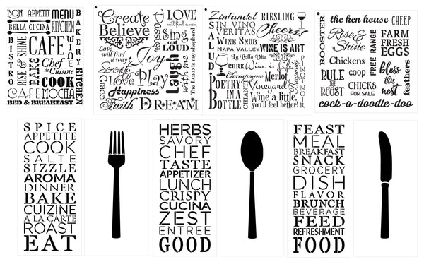 Decor Background Words Stencil Set | CMBN547