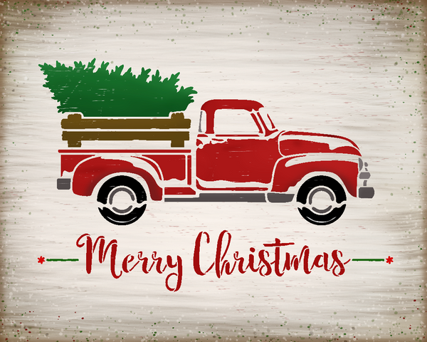 Little Red Truck With Merry Christmas Script Stencil - Choose Size | STCL2469
