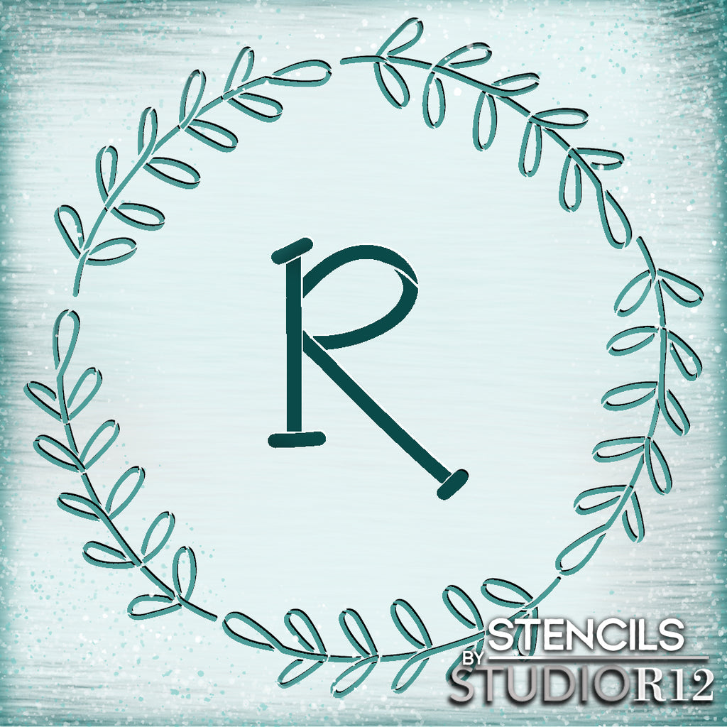 Art Stencil,   			                 branch,   			                 branches,   			                 capital letter,   			                 Country,   			                 custom,   			                 Farmhouse,   			                 Home,   			                 Home Decor,   			                 large letter,   			                 laurel,   			                 leaves,   			                 letter,   			                 letters,   			                 letters stencil,   			                 monogram,   			                 Personalized,   			                 Primitive,   			                 rustic,   			                 stencil,   			                 Stencils,   			                 Studio R12,   			                 StudioR12,   			                 StudioR12 Stencil,   			                 Template,   			                 wreath,