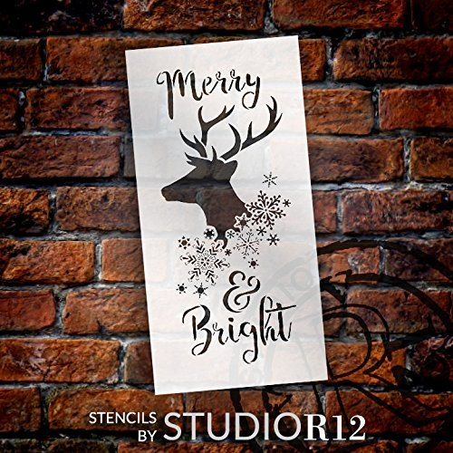 "Merry & Bright - Reindeer and Snowflake - Word Art Stencil - 11"" x 22"" - STCL2026_3 - by StudioR12"