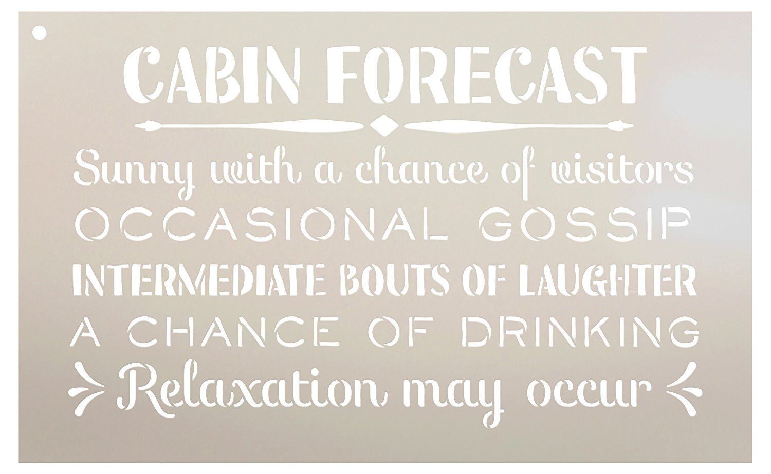 "Cabin Forecast - Sunny with a Chance of Visitors Stencil by StudioR12 | Reusable Mylar Template | Use to Paint Wood Signs - Front Door - Entry - Porch - DIY Summer Decor - Select Size (20"" x 13"")"