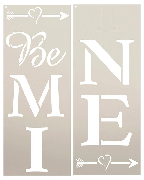 Be Mine Tall Porch Stencil with Heart & Arrows by StudioR12 | 2 Piece | DIY Large Vertical Outdoor Home Decor for Valentine's Day | Craft & Paint Wood Leaner Signs | Reusable Mylar Template | Size 4ft | STCL2639