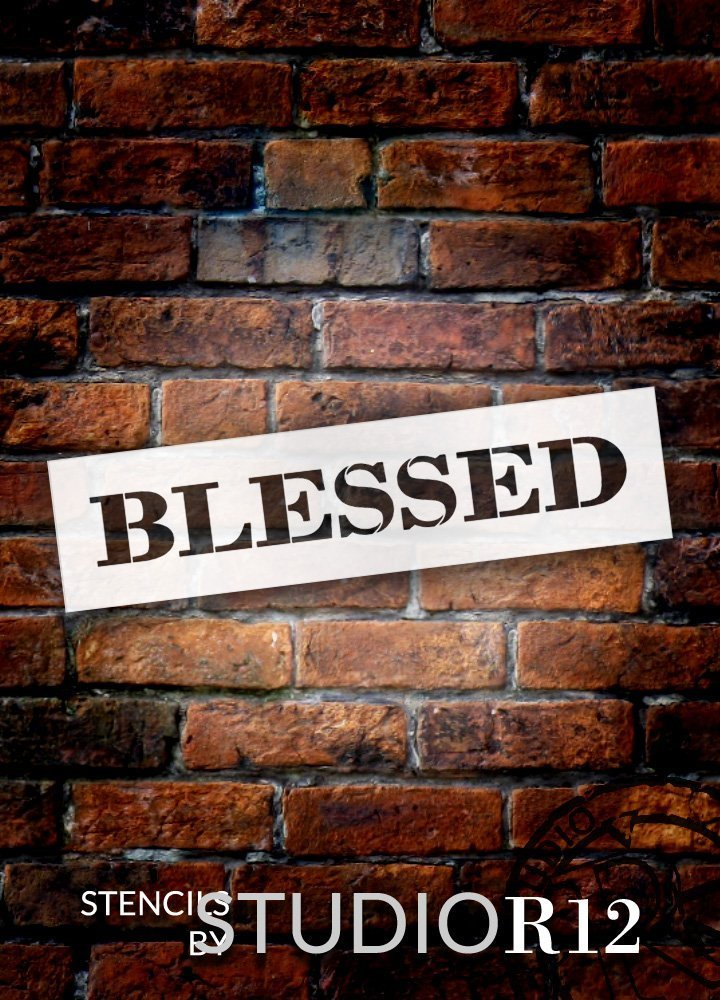"Blessed - Farmhouse Serif - Word Stencil - 20"" x 5"" - STCL1959_3 - by StudioR12"