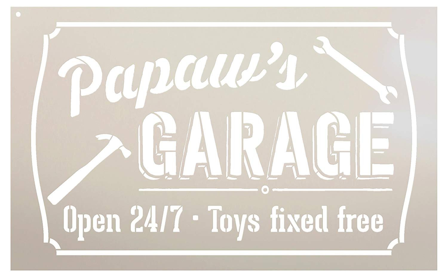 "Papaw's Garage - Open 24/7 Sign Stencil by StudioR12 | Reusable Mylar Template | Use to Paint Wood Signs - Pallets - DIY Grandpa Gift - Select Size (25"" x 16"")"