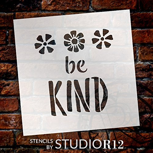 "Be Kind - Flowers - Word Art - 12"" x 12"" - STCL1772_3 - by StudioR12"
