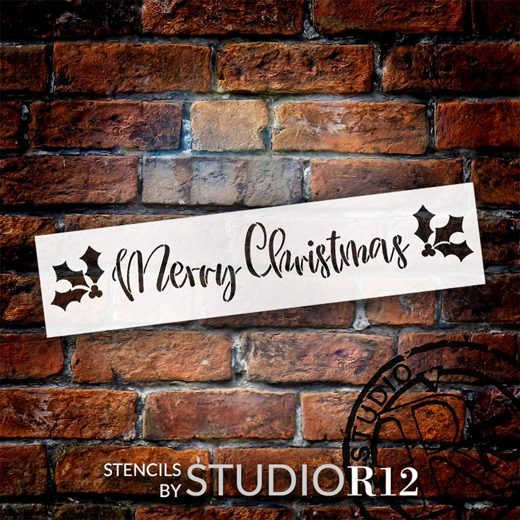 Merry Christmas Stencil With Holly Berries Studior12