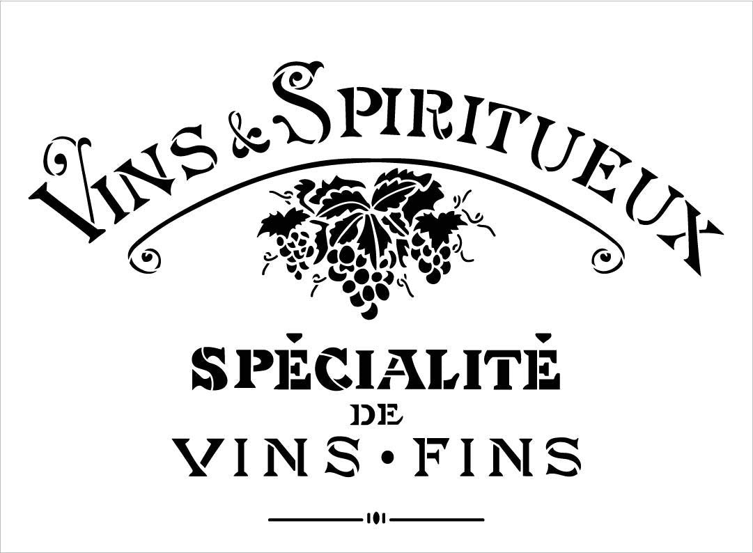 Vintage French Fine Wine Stencil with Grapes by StudioR12