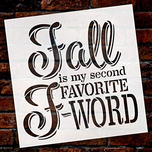 Fall is My Second Favorite F-Word Italic Font Stencil by StudioR12 | Wood  Signs | Word Art Reusable | Family Dining Room | Painting Chalk Mixed Media