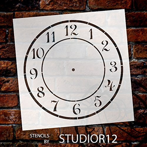 SCHOOL HOUSE Clock Stencil - by StudioR12 - Reusable - Craft a perfectly spaced Clock- Farmhouse Country - for wood or Metal clock, decoupage, mixed media, paint - SELECT SIZE - STCL1525_7