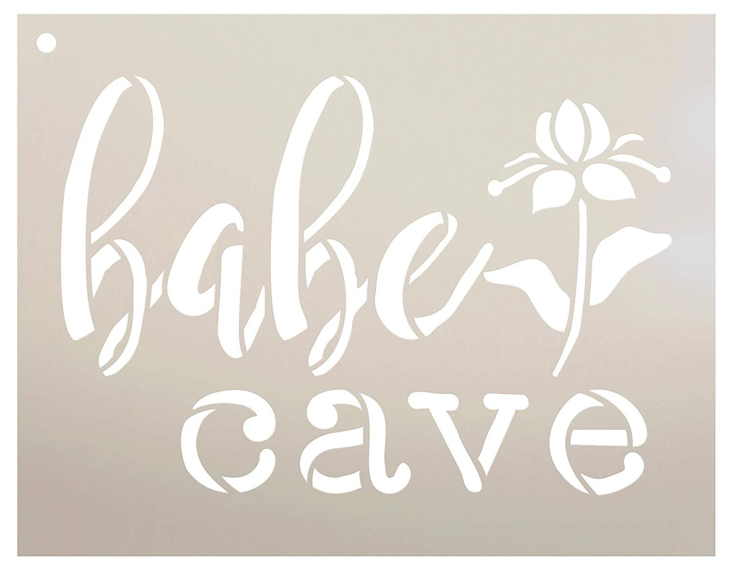 Babe Cave - Flower Stencil by StudioR12 | Reusable Mylar Template | Use to Paint Wood Signs - Pallets - Walls - Pillows - DIY Girls Only Decor - Select Size