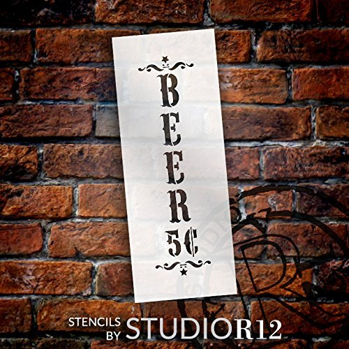 "Beer - Decorative Vertical - Word Art Stencil - 7"" x 19"" - STCL1887_3 - by StudioR12"