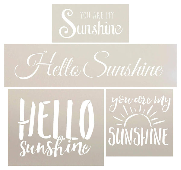 You are My Sunshine - Hello Sunshine Stencil Set - 4 Piece by StudioR12 | Reusable Mylar Template | Use to Paint Wood Signs - Walls - DIY Home Decor Childrens Bedroom | CMBN422