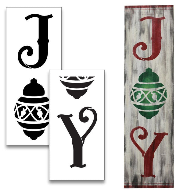 Joy Tall Porch Stencil with Christmas Ornament by StudioR12 | 2 Piece | DIY Large Vertical Holiday Home Decor | Front Door Entryway | Craft Paint Wood Leaner Signs | Reusable Mylar Template | Size 4ft | STCL2012