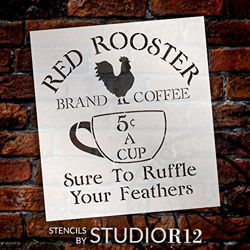 Art Stencil,   			                 Chef,   			                 Chicken,   			                 Coffee,   			                 Country,   			                 Drink,   			                 Food,   			                 Home Decor,   			                 Kitchen,   			                 Stencils,   			                 Studio R 12,   			                 StudioR12,   			                 StudioR12 Stencil,   			                 Template,