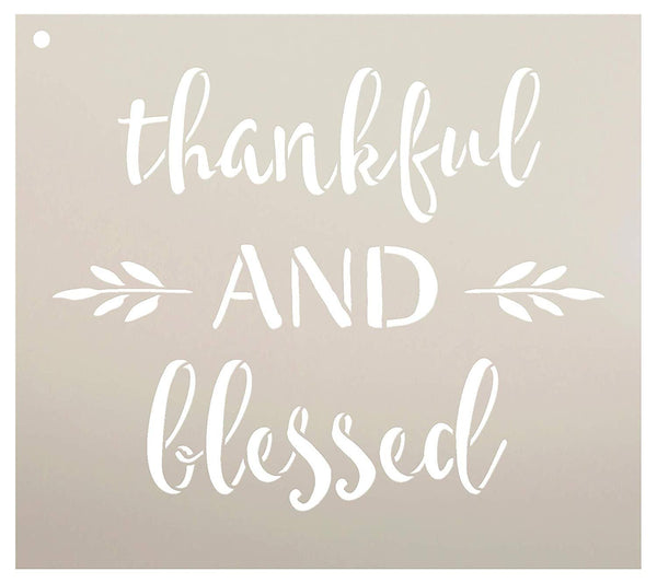 Thankful and Blessed Stencil by StudioR12 | Reusable Mylar Template | Use to Paint Wood Signs - Pallets - DIY Fall & Thanksgiving Decor - Select Size