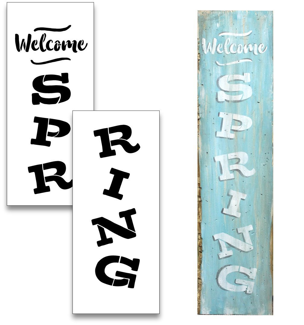 "Large 48"" WELCOME SPRING STENCIL for Painting on Wood 