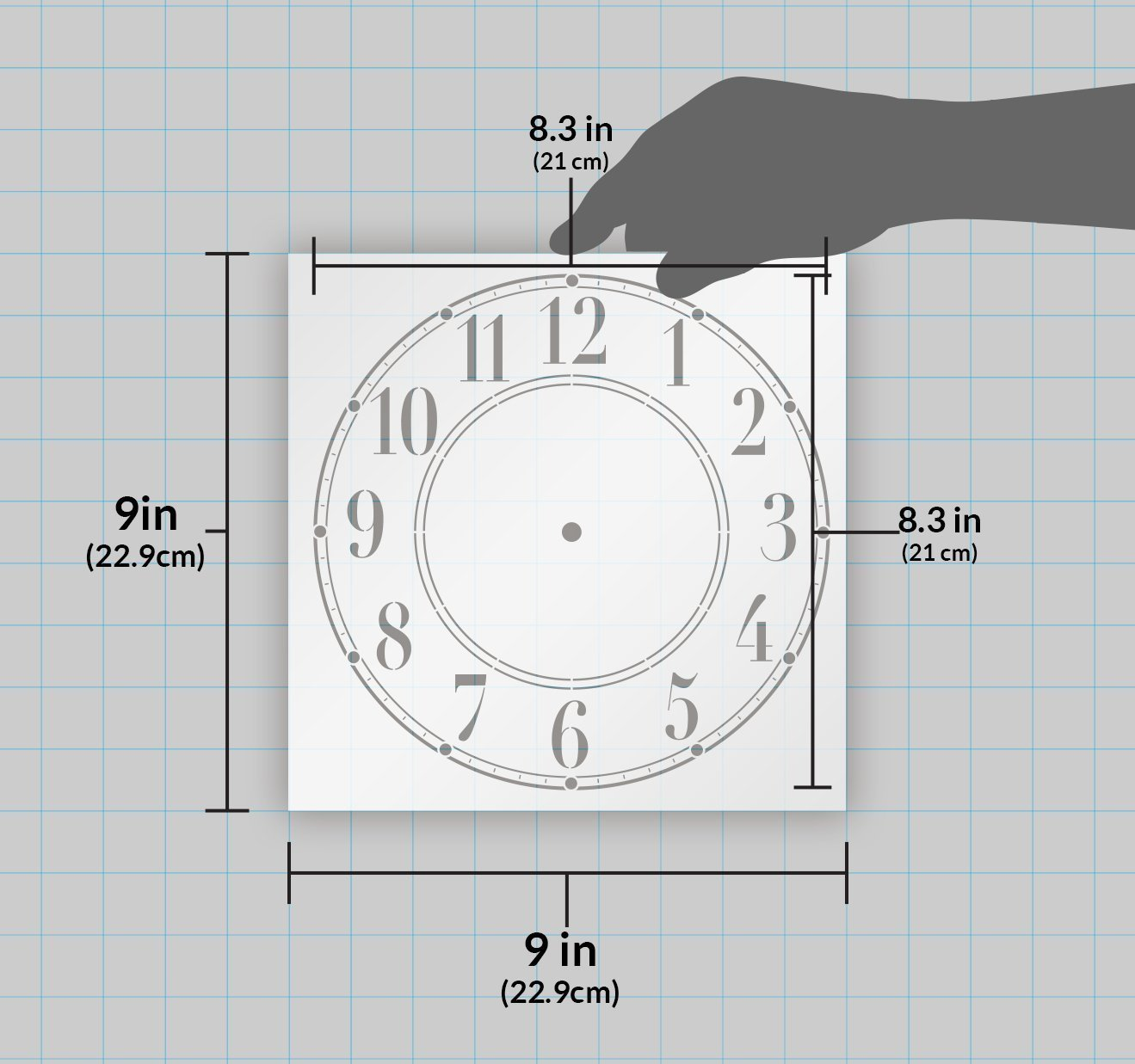 Schoolhouse Clock Stencil by StudioR12 | Basic Style Clock Face Art - Medium 9.5 x 9.5-inch Reusable Mylar Template | Painting, Chalk, Mixed Media | Use for Crafting, DIY Home Decor - STCL179_3